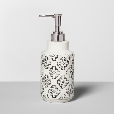 Mallorca Mosaic Distressed Debossing On Ceramic Soap/Lotion Dispenser Black - Opalhouse™