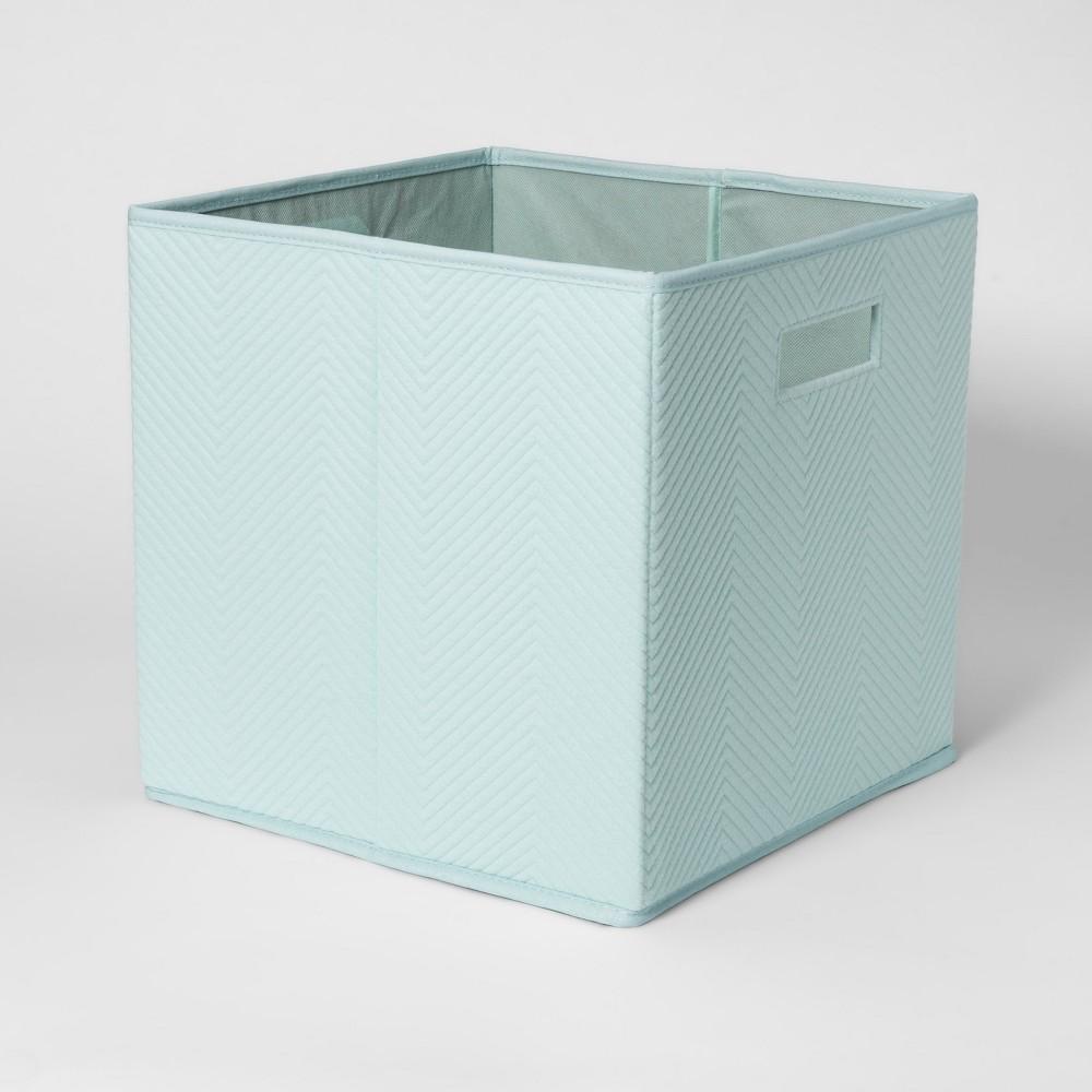 Image of Fabric Cube Toy Storage Bin Aqua - Pillowfort , Blue