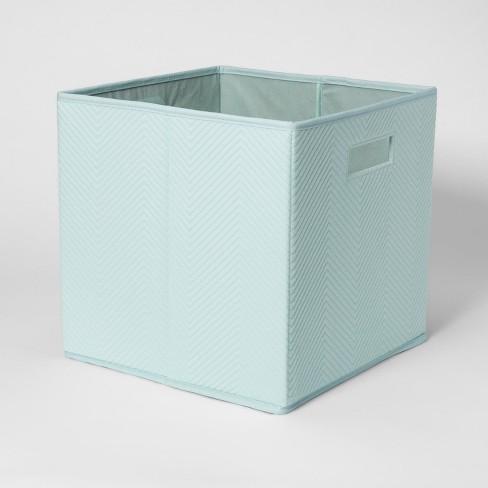 Fabric Cube Toy Storage Bin Aqua Pillowfort