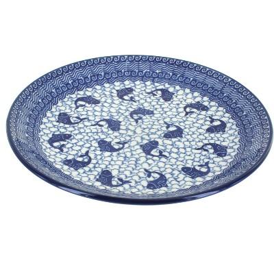 Blue Rose Polish Pottery Mosaic Beach Dinner Plate