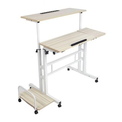 White Rolling Sitting/Standing Desk with Side Storage - Mind Reader