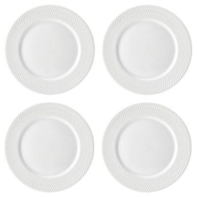 Pfaltzgraff Expressions Fiona Porcelain Dinner Plate 11   White - Set of 4