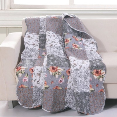 """Greenland Home Fashion Barefoot Bungalow Giulia Fabulous Floral & Stencil Prints Fashionable Accessory Quilted Throw Blanket - 50""""x60"""" in Gray Color"""