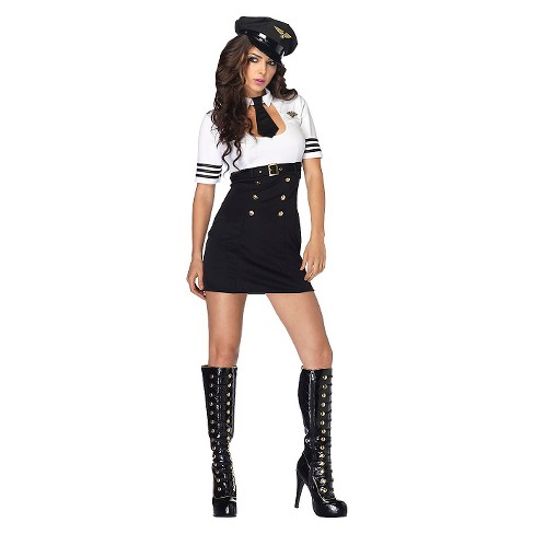 Women's First Class Captain Costume Black/White Small - image 1 of 1