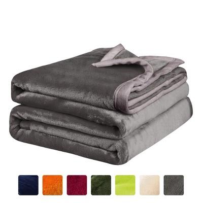 1 Pc Queen Microfiber Flannel Fleece Bed Blankets Gray  - PiccoCasa