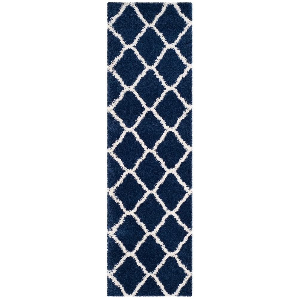 2'3X12' Loomed Quatrefoil Design Runner Rug Navy - Safavieh, Blue/Ivory