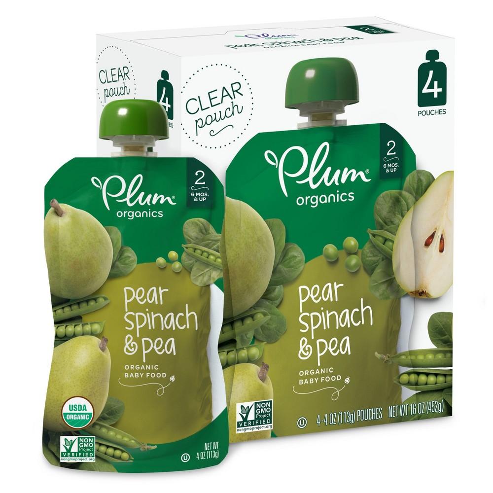 Plum Organics 4pk Pear Spinach 38 Pea Baby Food Pouches 16oz