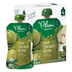 Plum Organics Stage 2 Organic Baby Food, Pear, Spinach & Pea - 4oz (Pack of 4)