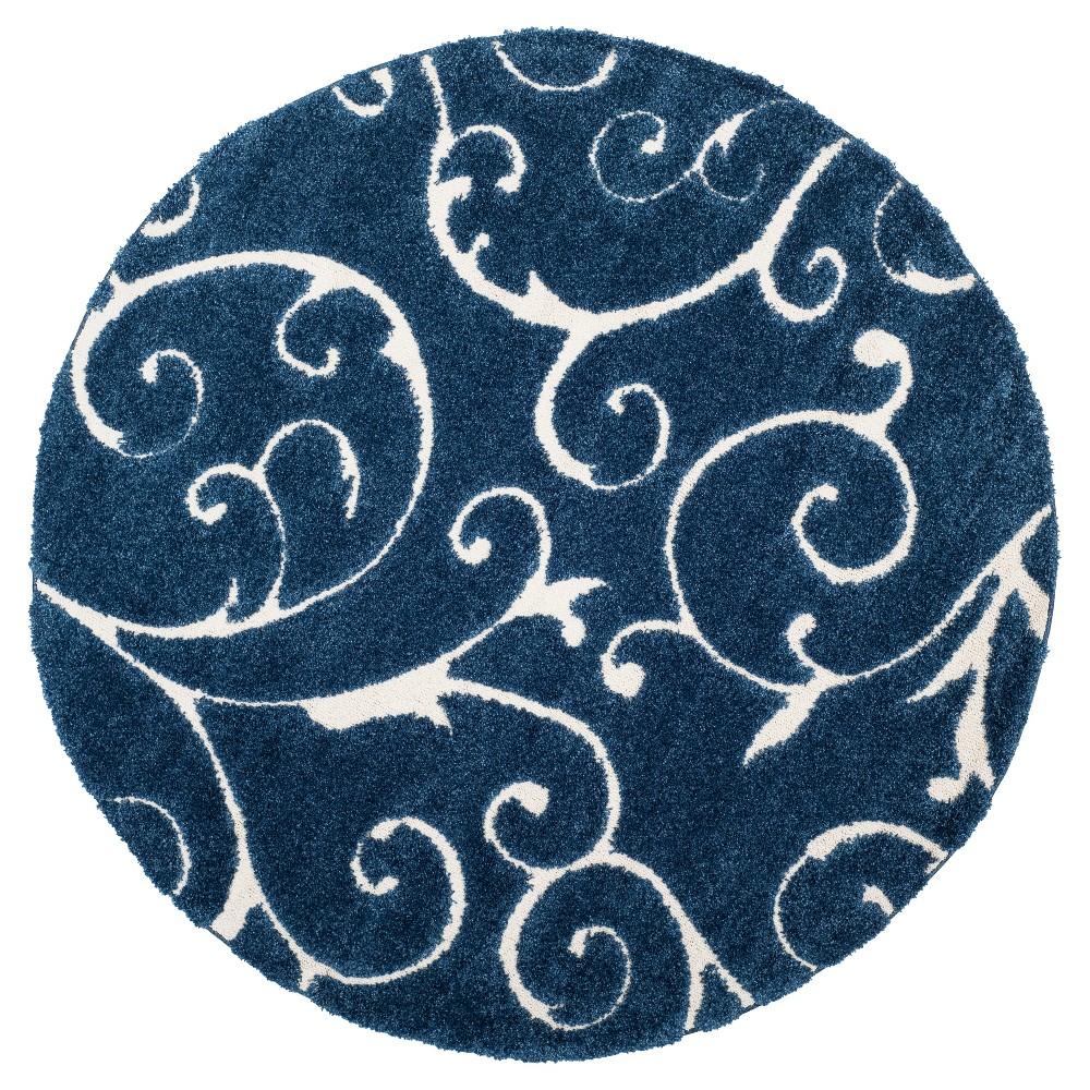 Dark Blue/Cream (Dark Blue/Ivory) Abstract Shag/Flokati Loomed Round Area Rug - (6'7 Round) - Safavieh