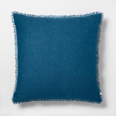 "22"" x 22"" Raw Edge Cross Dyed Throw Pillow Navy - Hearth & Hand™ with Magnolia"