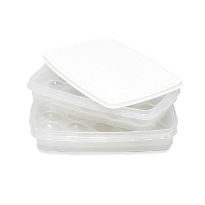 Lakeside 2-Tier Plastic Stacking Tray Egg Keeper with 40 Holder Slots and Lid Cover