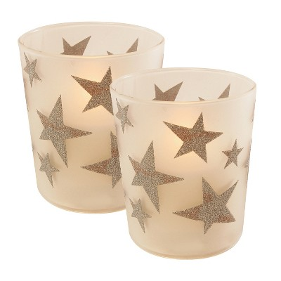 2ct LED Wax Candles Filled in Glass Holders With 2 Timers  Gold Stars  Candle - LumaBase