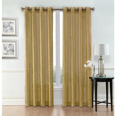 GoodGram Whittier Metallic Sparkle Semi Sheer Grommet Curtain Panels