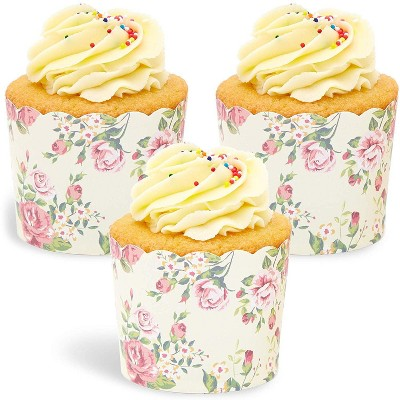 Sparkle and Bash 50 Pack Floral Design Cupcake Wrappers, 2.75 x 2.2 inches Vintage Flowers Paper Wraps