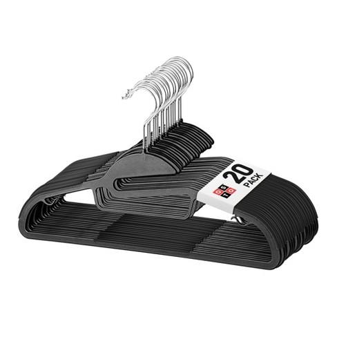 OSTO 20-Pack U-Slide Plastic Shirt Hangers; Easy Slip-In, Anti-Stretch, Tie Bar, Pant Bar, Strap-Hooks, and 360-Degree Swivel Hook - image 1 of 4