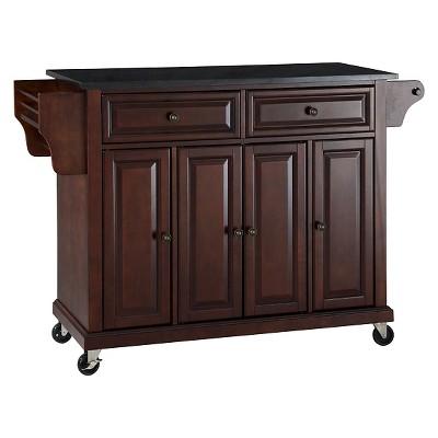 Solid Black Granite Top Kitchen Cart/Island - Vintage Mahogany - Crosley