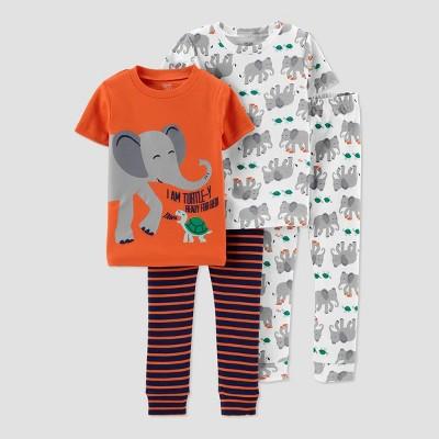 Baby Boys' 4pc Elephant & Turtle 100% Cotton Short Sleeve Pajama Set - Just One You® made by carter's Blue/Orange 12M