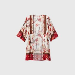 Women's Floral Print Long Sleeve Kimono Jacket - Knox Rose™ Ivory