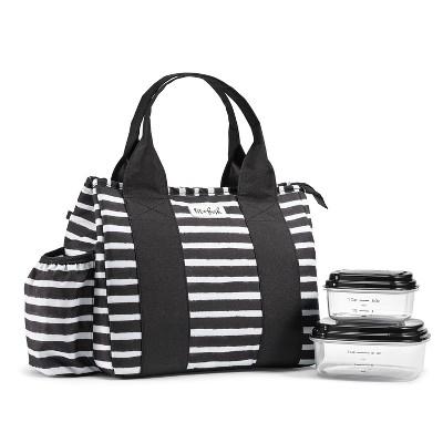 Fit & Fresh Sanibel Lunch Tote - Black/White Stripe