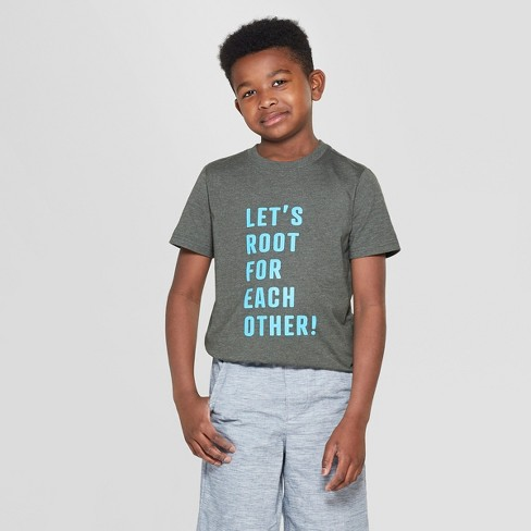 Boys' Lets Root Short Sleeve Graphic T-Shirt - Cat & Jack™ Dark Green - image 1 of 3