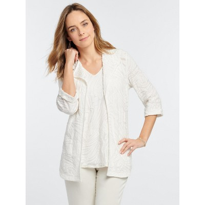 NIC+ZOE Women's Make Waves Cardigan White Multi