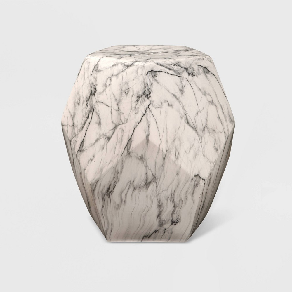 Paolo Calabria Facet Marbled Ceramic Garden Stool White - Abbyson Living