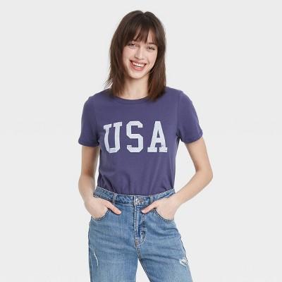 Women's USA Short Sleeve Graphic T-Shirt - Blue