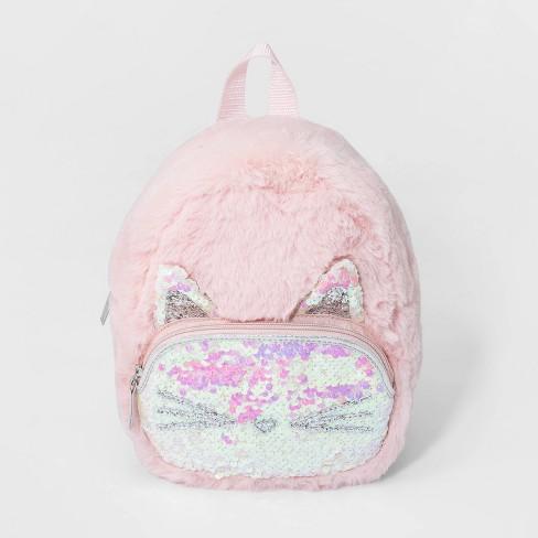 Girls' Faux Fur Cat Backpack - Cat & Jack™ Pink - image 1 of 2