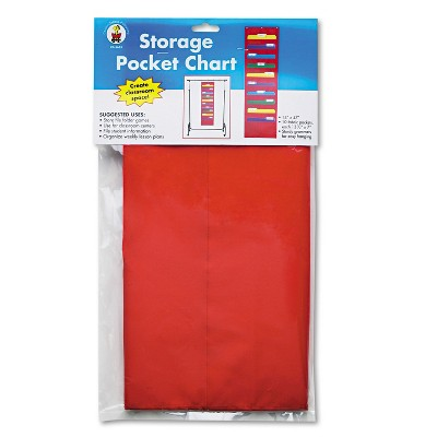 Carson-Dellosa Publishing Storage Pocket Chart with 10 13 1/2 x 7 Pockets Hanger Grommets 14 x 47