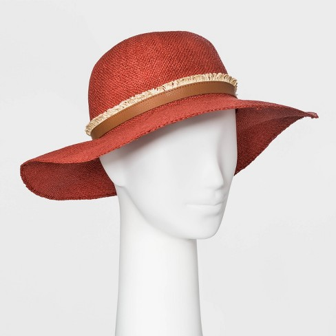 Women's Woven Floppy Hat - Universal Thread™ Red - image 1 of 1