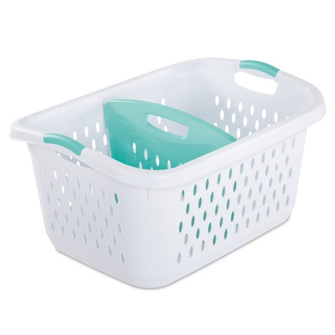2.2 Bushel Divided Laundry Basket White - Room Essentials™ - image 1 of 4