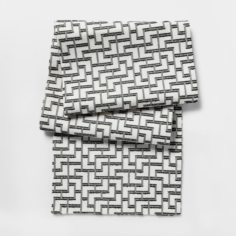 Black Tile Woven Table Runner (14