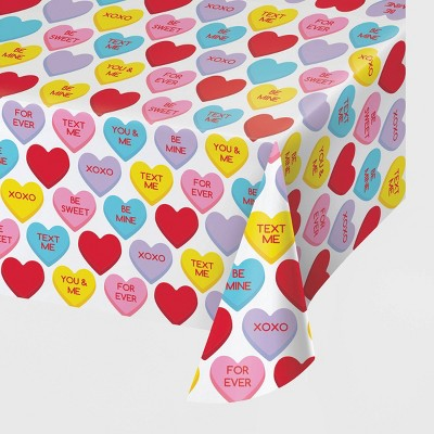 3ct Candy Hearts Valentine's Day Plastic Tablecloths