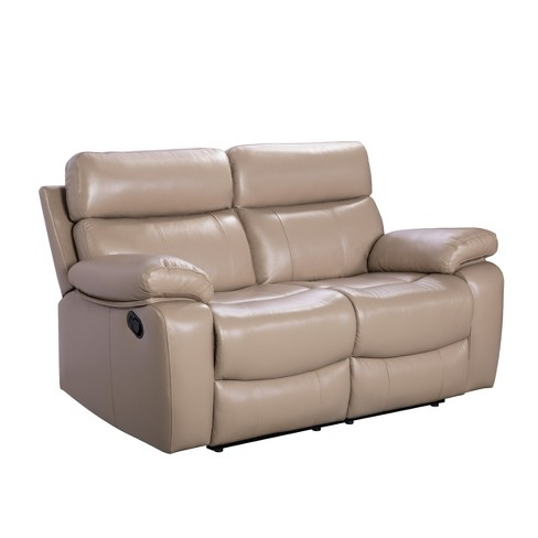 Outstanding Cameron Leather Reclining Loveseat Beige Abbyson Living Ncnpc Chair Design For Home Ncnpcorg