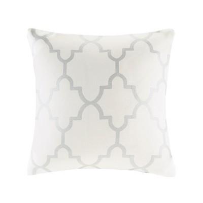 Ivory/Silver Sereno Fretwork Print Throw Pillow (20 x20 )