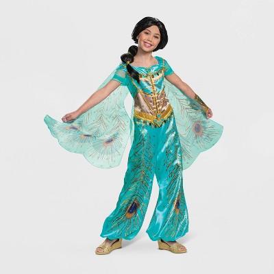 Girls' Disney Princess Aladdin Jasmine Teal Deluxe Halloween Costume M