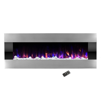"""Hastings Home 54"""" Stainless Steel Wall-Mounted LED Fireplace - Silver and Black"""