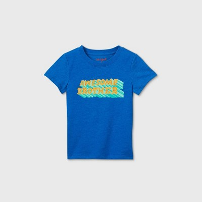 Toddler Boys' 'Awesome Brother' Graphic Short Sleeve T-Shirt - Cat & Jack™ Blue