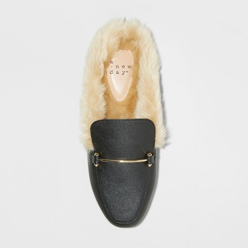 0571724324fb Women s Rebe Faux Leather Fur Backless Mules - A New Day™ Black   Target