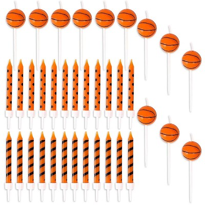 Blue Panda 36-Piece Basketball Ball Cake Topper & Birthday Cake Candles for Sports Party Decorations