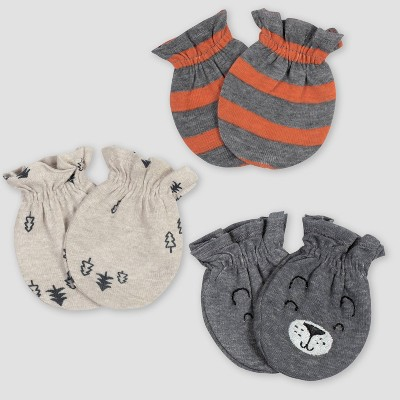 Gerber Baby Boys' 3pk Bear Mittens - Gray/Light Brown 0-3M