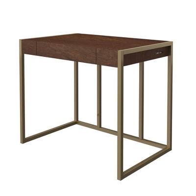 Twin Star Home Haymarket Gold Trim Multipurpose Modern Design Writing Desk w/ 2 2.4 Amp USB Charging Ports And Pull Out Drawer