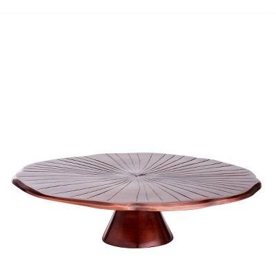 """Old Dutch 12.5"""" Metal Lily Pad Cake Stand Copper"""