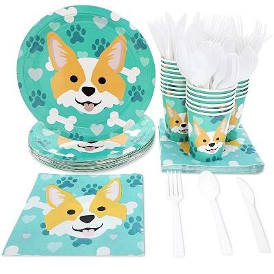 Serve 24 Dog Birthday Party Supplies Corgi Paw Puppy Dinnerware Plate Napkin Cup