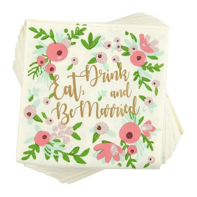 Blue Panda 100-Count Bachelorette Party Bridal Shower Disposable Cocktail Napkins -Eat, Drink and Be Married