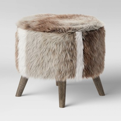 Judith Faux Fur Ottoman Brown/White - Threshold™
