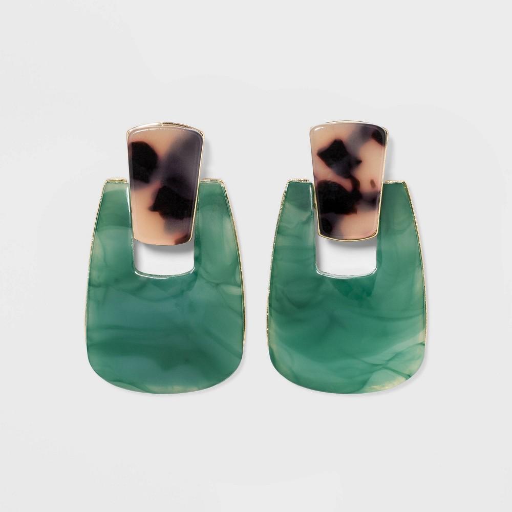 Image of Acrylic Door Knocker Statement Earrings - A New Day Jade/Tortoise, Women's, Green/Green
