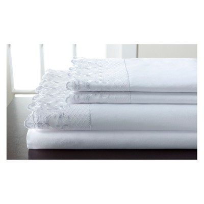Hotel Lace Microfiber Sheet Set (King)White - Elite Home Products