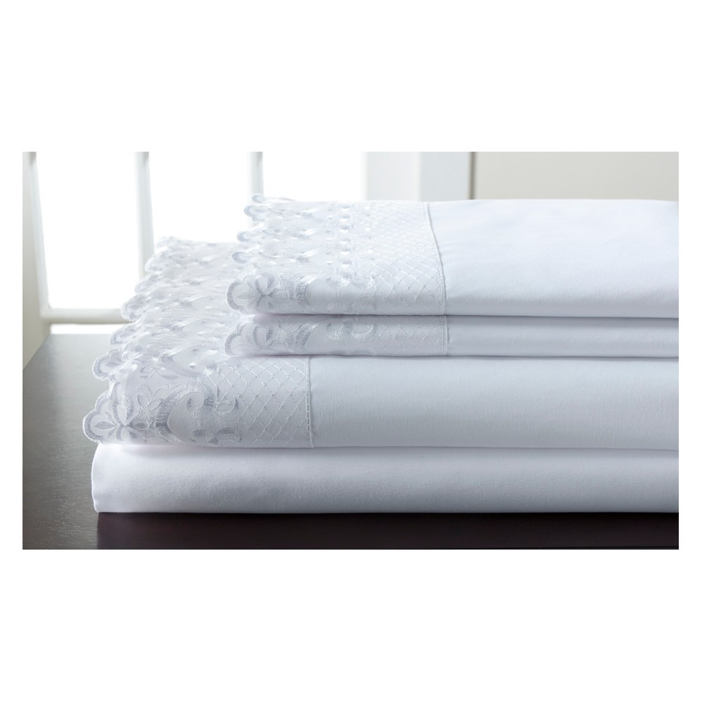 Hotel Lace Microfiber Sheet Set (Queen) White - Elite Home Products