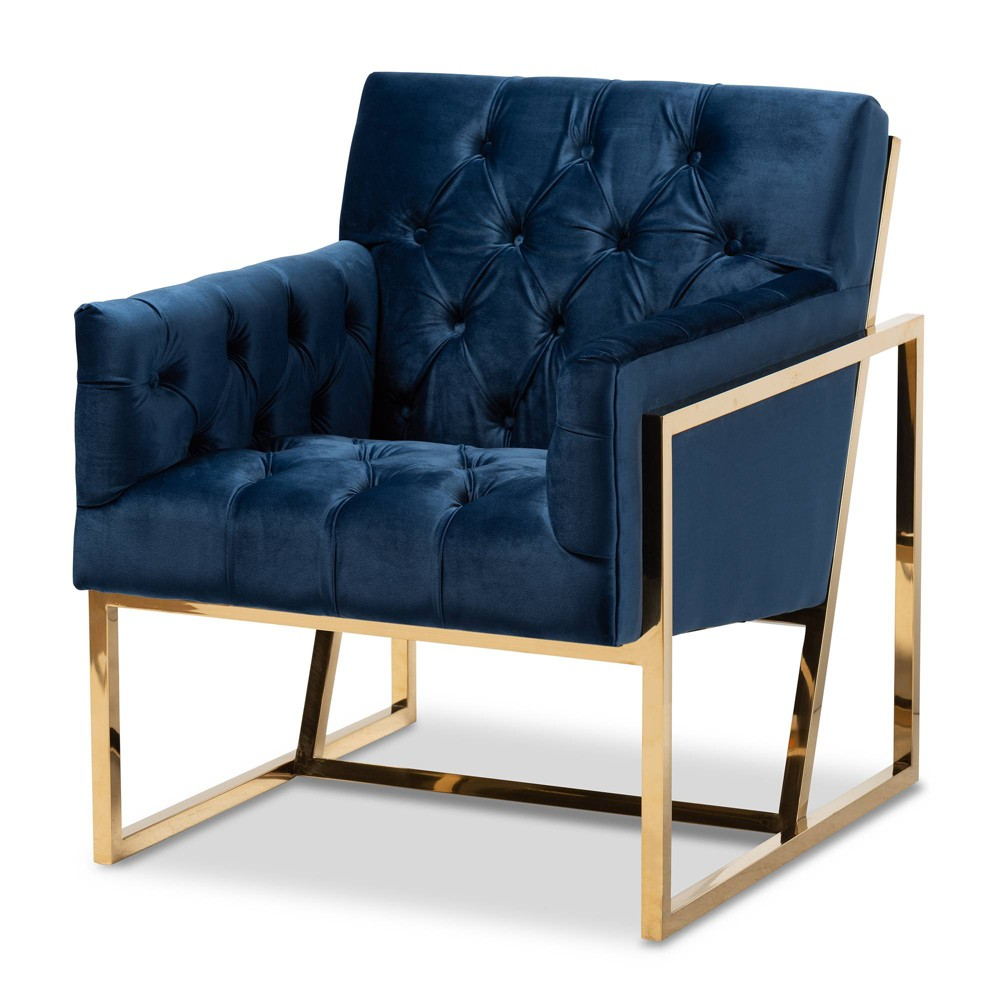 Milano Velvet Fabric Upholstered Finished Lounge Chair Gold/Blue - Baxton Studio